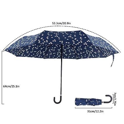 Paraguas Sombrillas funda pantalla windsicher impermeable triple plegable windundurchlässiger paraguas Chica Protección Solar Protección UV –