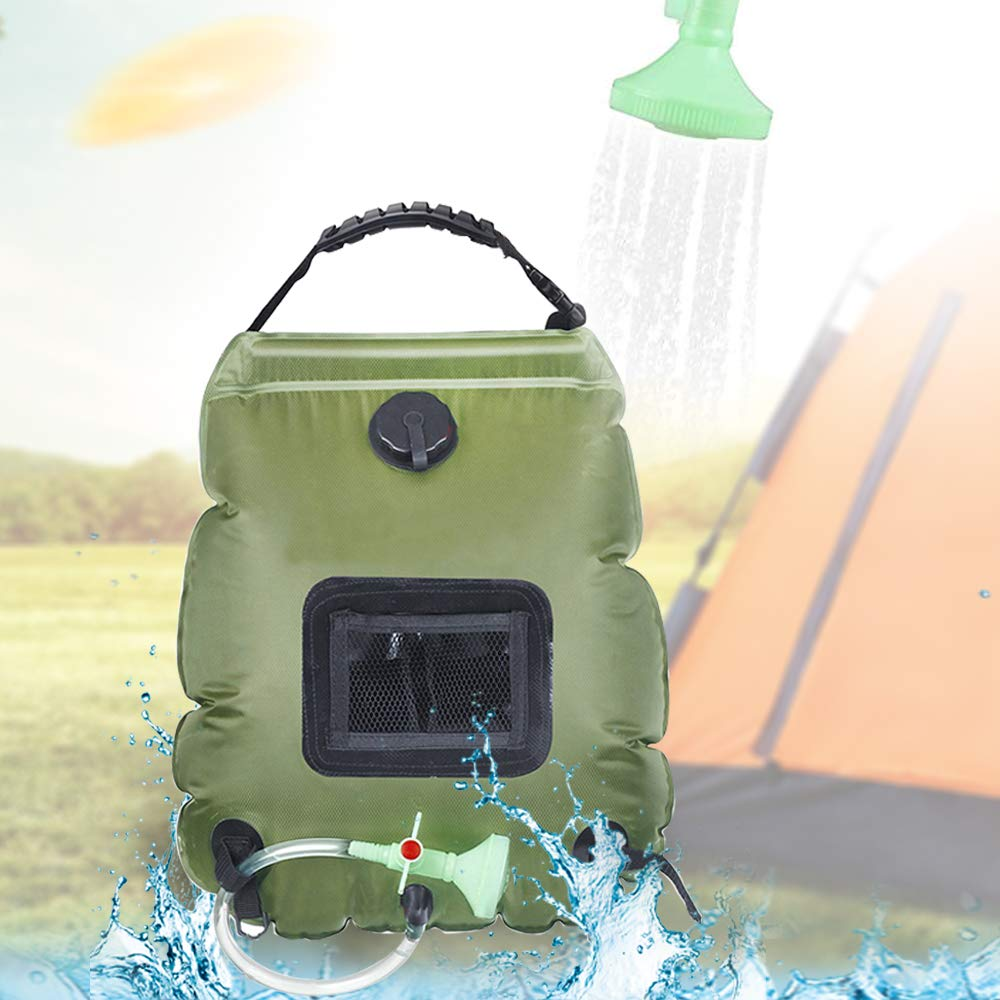 ixaer Solar Shower Bags 5 Gallon 20L Water Heating Camping Hiking Traveling 2019 Upgraded Design