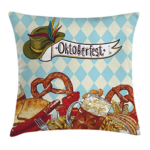 Oktoberfest Throw Pillow Cushion Cover by Ambesonne, Bread Pretzel Carnival Partying Germany Costume Cheerful Festival Illustration, Decorative Square Accent Pillow Case, 18 X18 Inches, Multicolor