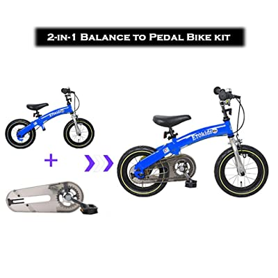Dakoliving 2-in-1 Balance Bike to Pedal Bicycle Kit with Adjustable Handlebar and Seat Ages 3-7 Years (12X, Blue): Sports & Outdoors