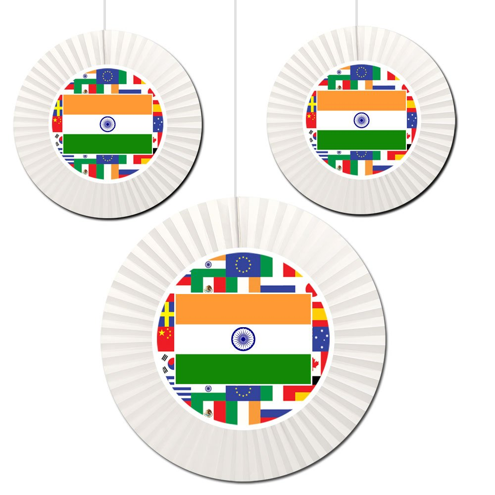 India Fan Decorations (3 Count -1-16 inch and 2-12 inch) by Partypro