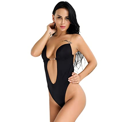 11b1160d71 iEFiEL Womens  Plunging V-Neck Clear Straps Backless Bodysuit U Plunge  Conjoined Bra Top at Amazon Women s Clothing store