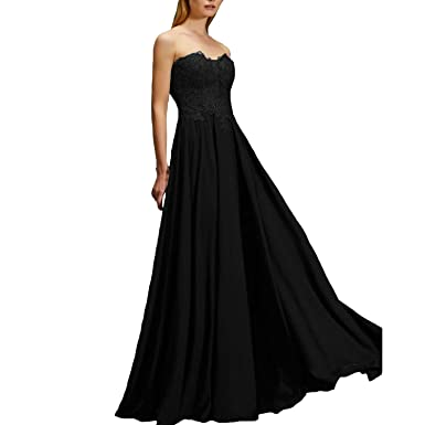 Fair Lady Navy Blue Chiffon Evening Dresses Long Formal Zipper Back Lace Strapless Prom Dress Party