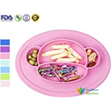 RayMoon Kids Plates Silicone Toddler Suction Bowls Led Weaning Tableware Set Monkey (Pink)