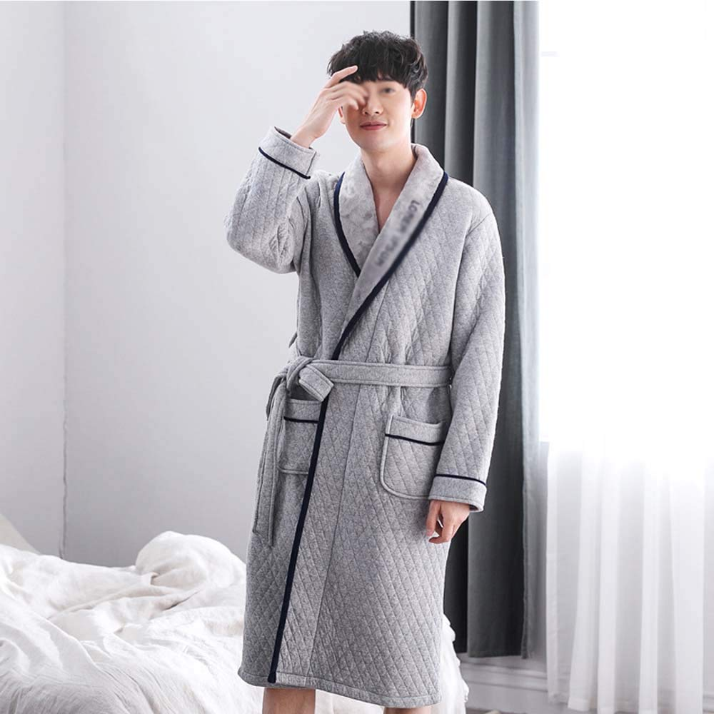 GJFeng Pajamas Mens Autumn and Winter Gray Three-Layer Structure Thick Cotton Robes Home Bathrobe Color : Gray, Size : XXL