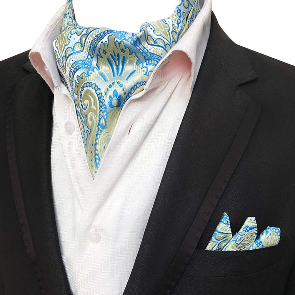 MOHSLEE Men Blue Yellow Floral 100% Silk Cravat Tie Woven Ascot Handkerchief Set Aqa48