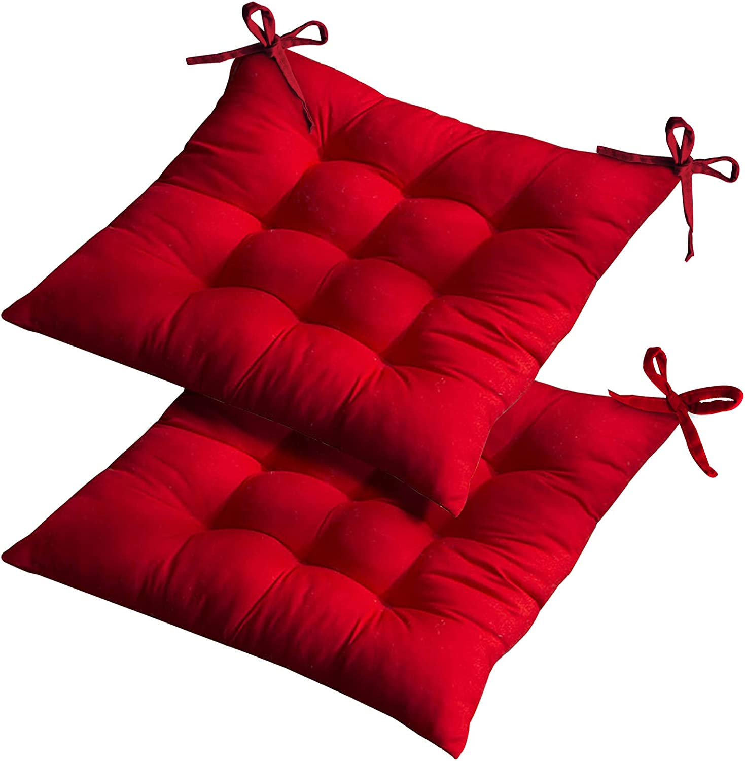 Set of 2 Outdoor Chair Cushions, Thick Soft and Comfortable Dining Chair Cushions with Ties for Indoor Outdoor Garden Car Office Patio Furniture Decoration. (15.7515.75 inch) (Red)