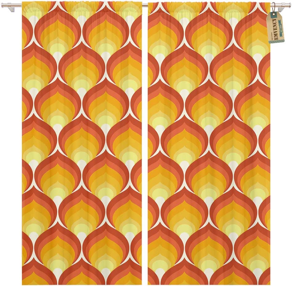 Golee Window Curtain Seventies Retro Pattern 1970S Flame 1960S 60S 70S Abstract Home Decor Pocket Drapes 2 Panels Curtain 104 x 96 inches