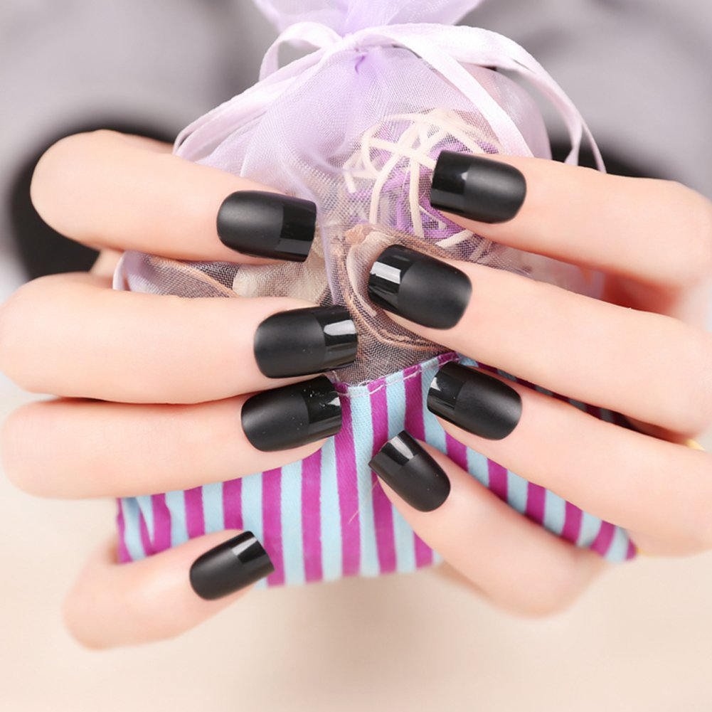 Amazon.com : JINDIN Black Matte French Fake Nails Manicure Natural ...