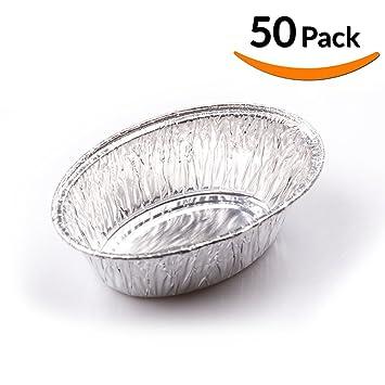 Pequeño óvalo desechables resistente aluminio sartén – 200 ml capacidad Take Out sartenes ideal para huevo