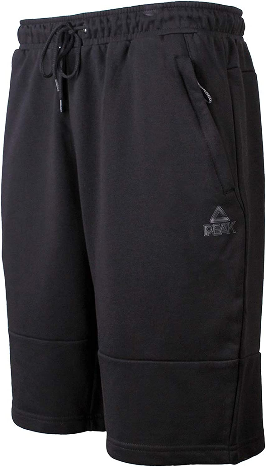 PEAK Men's Cotton Active Athletic Shorts with Pockets,for Home Workouts, Fitness,Running, Basketball