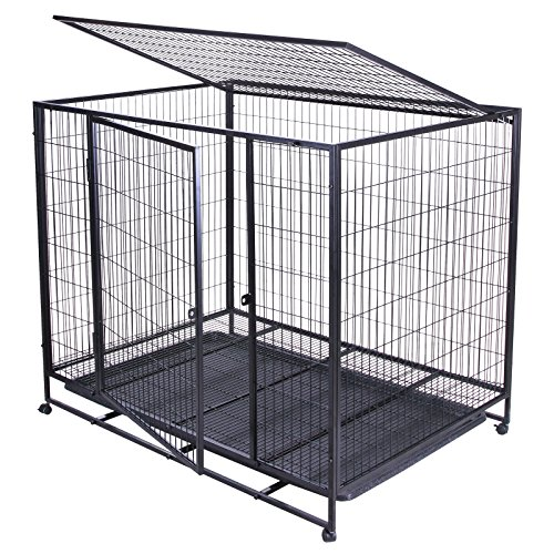 VEVOR Dog Kennels and Crates 42Inch Heavy Duty Metal Dog Cage with 2 Doors Rolling Portable Pet Crate Cage Kennel On Wheels (42Inch with 2 Doors)