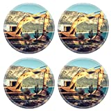 Luxlady Natural Rubber Round Coasters IMAGE ID: 34505938 Excavator machine on site in vintage style