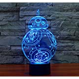 Star Wars Light Colorful 3D stereoscopic visual LED light USB table lamp TUOFENG night light touch pad switch,and produces unique lighting effects and 3D visualization - Amazing Optical Illusion (BB-8)