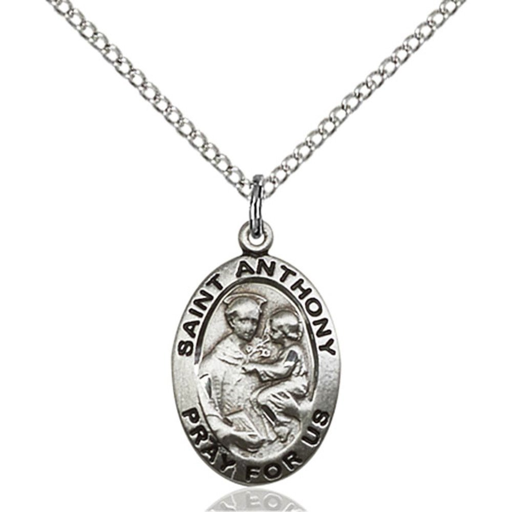 Bonyak Jewelry Sterling Silver St Anthony of Padua Pendant 3//4 x 1//2 inches with Lite Curb Chain