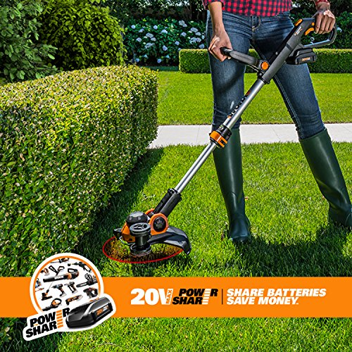 Worx WG163 GT 3.0 20V Cordless Grass Trimmer/Edger with Command Feed, 12