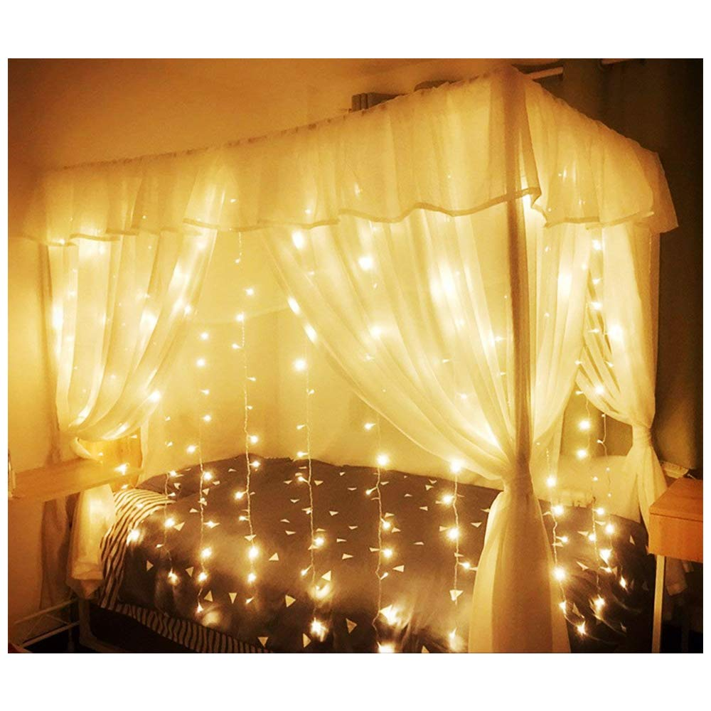 KNONEW LED Window Curtain Icicle Lights, 306 LEDs, 9.8ft x 9.8ft, 8 Modes, String Fairy Light, LED String Light for Wedding Party/Christmas/Halloween/Party Backdrops (Warm White) by KNONEW (Image #3)