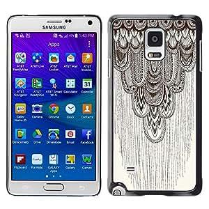 YOYOYO Smartphone Protección Defender Duro Negro Funda Imagen Diseño Carcasa Tapa Case Skin Cover Para Samsung Galaxy Note 4 SM-N910F SM-N910K SM-N910C SM-N910W8 SM-N910U SM-N910 - lápiz del arte gráfico del modelo de color beige de plumas