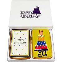 Gourmet Happy Birthday Cookie Gift Basket   2 Large 2.5 x 4.5 in Vanilla Sugar Cookies Hand-Decorated Snack Variety Pack…