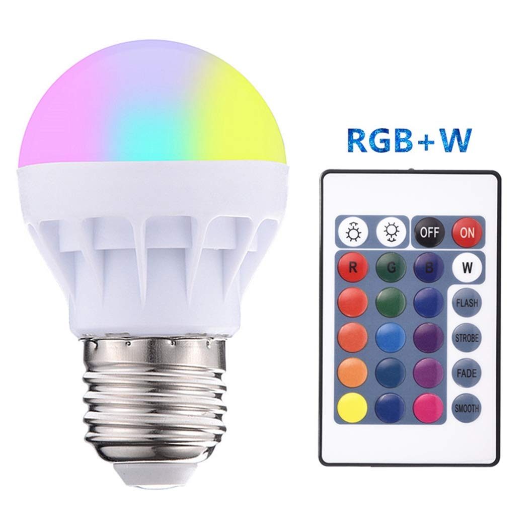 Cradifisho 16 Color Changing Light Bulb, 3W Remote Controller RGBW Color Changing LED Light Bulbs, Mood Lighting for Home Decor Stage Party(E27)