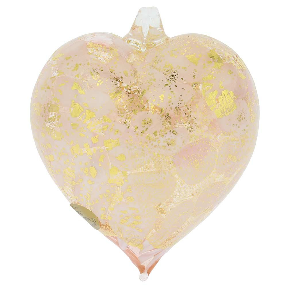 GlassOfVenice Murano Glass Spotted Heart Christmas Ornament Pink Gold