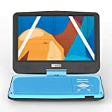 """COOAU 12.5"""" Portable DVD Player with Eye Protection HD Swivel Screen, 5 Hours Rechargeable Battery, Dual Earphone Jacks, Support SD Card/USB, Last Memory Function, Region Free, Blue"""