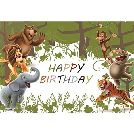 YongFoto 3x2,5m Vinilo cumpleaños Fondo de fotografía Telón de Fondo Feliz cumpleaños Dibujos Animados de Animales Árboles Abstractos Telón de Fondo ...