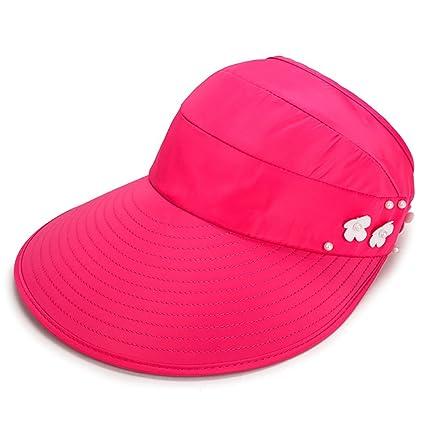 YXX- Protector solar para mujeres Sombrero de cubo de sol de verano rojo  Protección contra b2e688dcefb