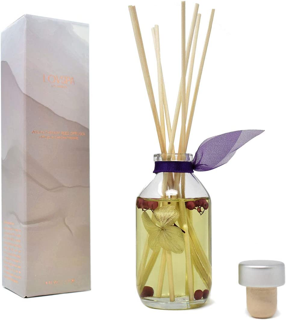 LOVSPA Wild Blueberry & Vanilla Orchid Reed Diffuser Set - Home Fragrance Oil Made with Essential Oils & Blue Butterfly Flowers - Decorative Home Decor - Great Housewarming Gift Idea!