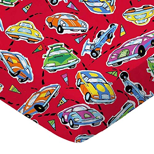 SheetWorld Fitted Pack N Play Sheet Fits Graco 27 x 39 - Race Cars Red - Made In USA