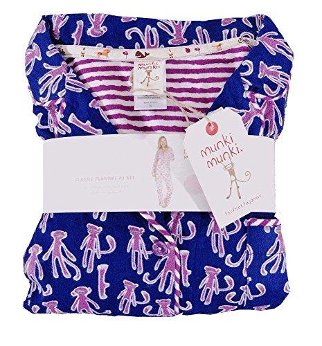 munki munki Perfect Flannel Pajama Set Monkey Navy S