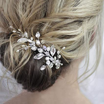 Wedding Hair Vine Crystal Bridal Hair Piece Rhinestone Hair Accessories Pearl Vine