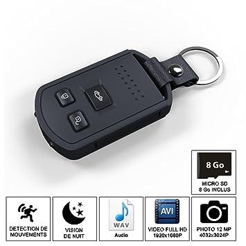 Shopinnov - Cámara espía CLE de coche HD visión nocturna y Detection movimiento 8 GB: Amazon.es: Electrónica