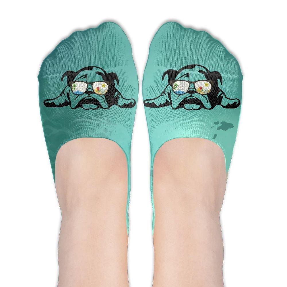 Bulldog Sunglass Vacation Mode Women's No Show Socks Funny Novelty Low Cut Liner Socks