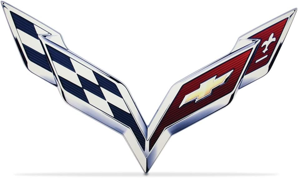 "C7 Corvette Stingray Crossed-Flag Emblem Metal Sign 6/"" x 4/"""