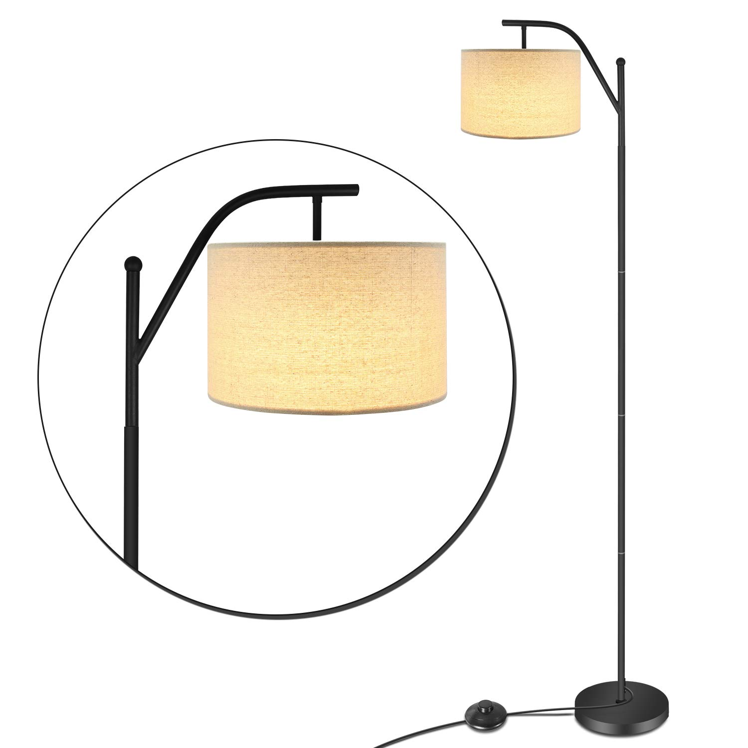 LED Floor Lamp,Anbomo Classic Standing Industrial Arc Light with Hanging Lamp Shade,Modern Floor Lamp for Bedroom, Living Roon, Study Room, Tall Pole Uplight for Office