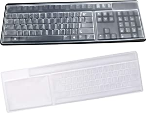 BronaGrand 2 Pack Clear Desktop Computer Keyboard Protection Skin Protector Cover for PC 104/107 Keys Standard Keyboard