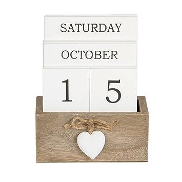 Pretty Ashley Farmhouse Wooden Perpetual Calendar Block With Heart