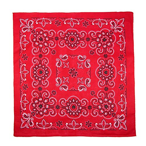 CTM 27 Inch Extra Large Cotton Texas Paisley Bandana, Red Red Large Paisley