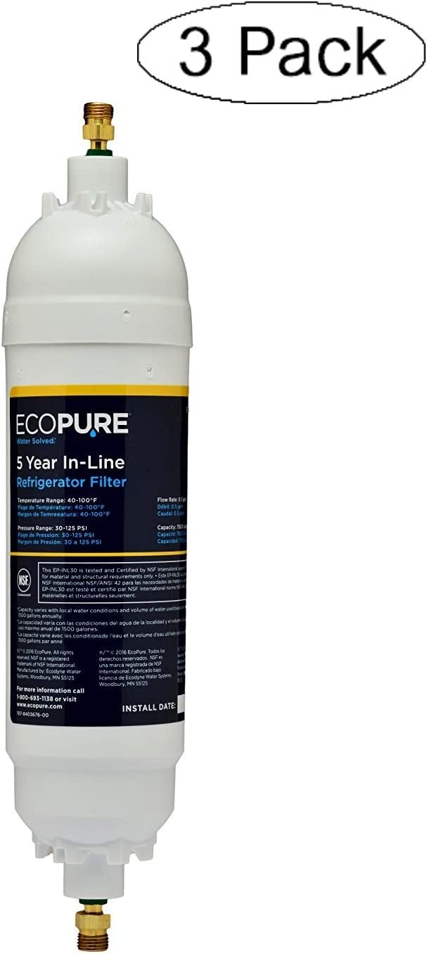 """EcoPure EPINL30 5 Year in-Line Refrigerator Filter-Universal Includes Both 1/4"""" Compression and Push to Connect Fittings (Thrее Расk)"""