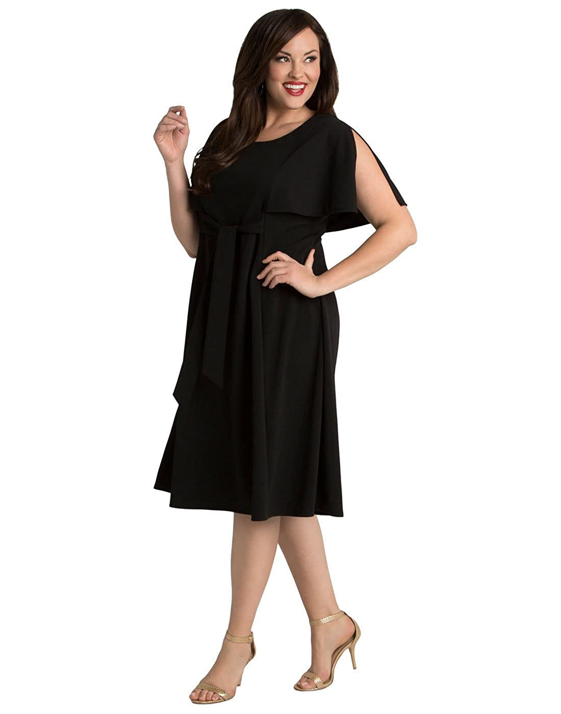 Kiyonna Women\'s Plus Size Estella Tie Dress 1X Black Noir at ...