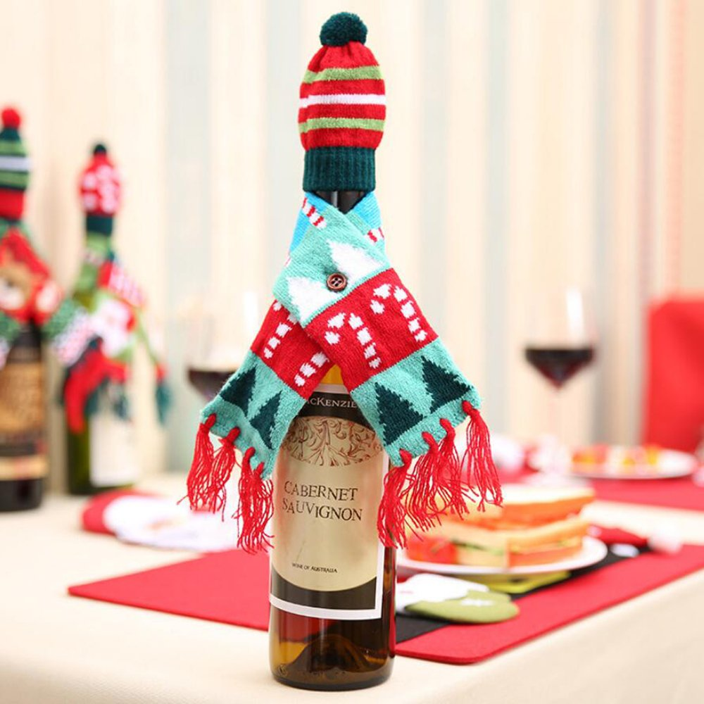Set Includes Wine Bottle Scarf and Hat in Three Styles (Santa, Candy Cane, Reindeer)