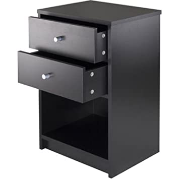 Amazon.com: Black Night Stand End Table Bedroom Furniture Bedside ...