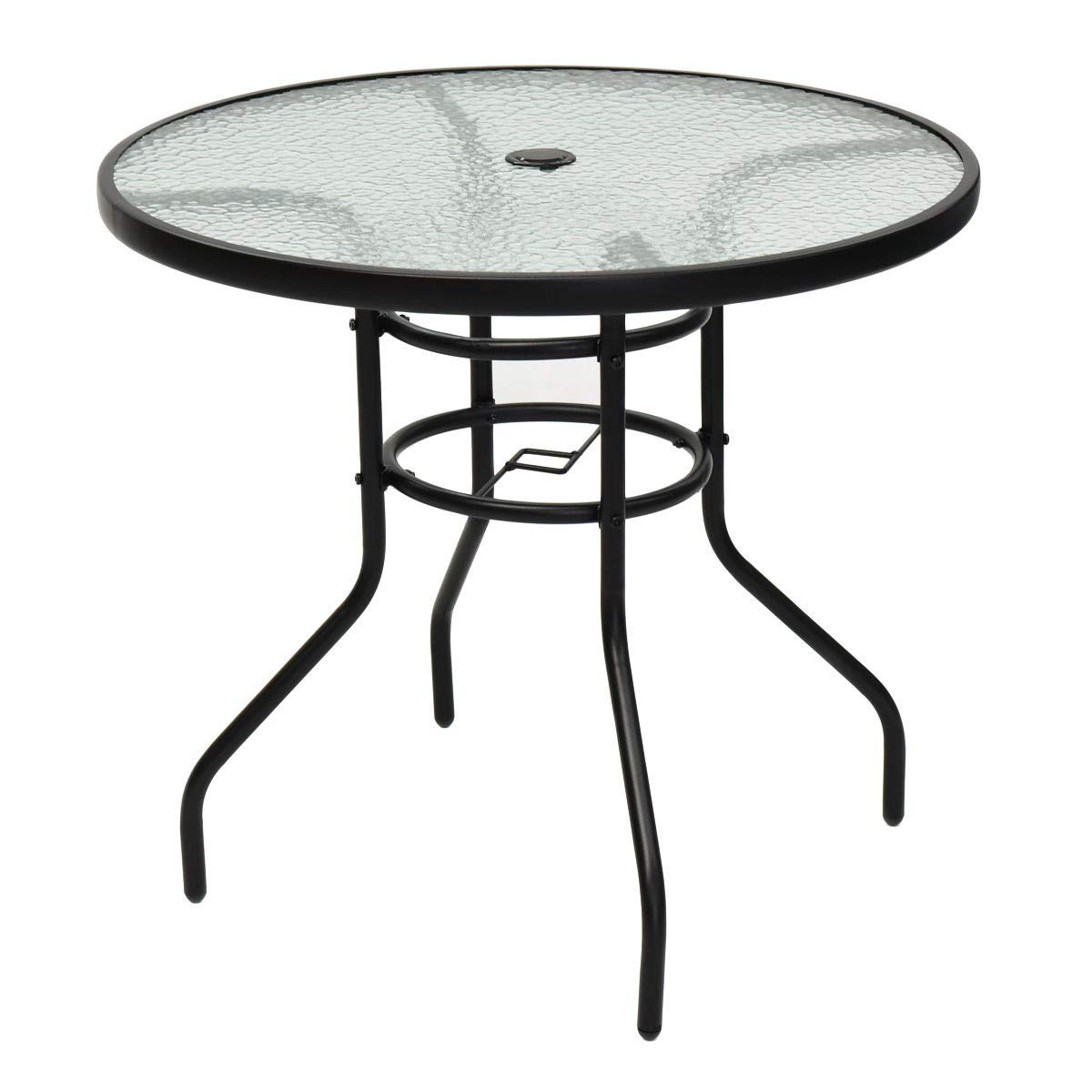 Amazon com lhone 31 5 outdoor dining table patio tempered glass table patio bistro table with umbrella hole stand round table garden outdoor