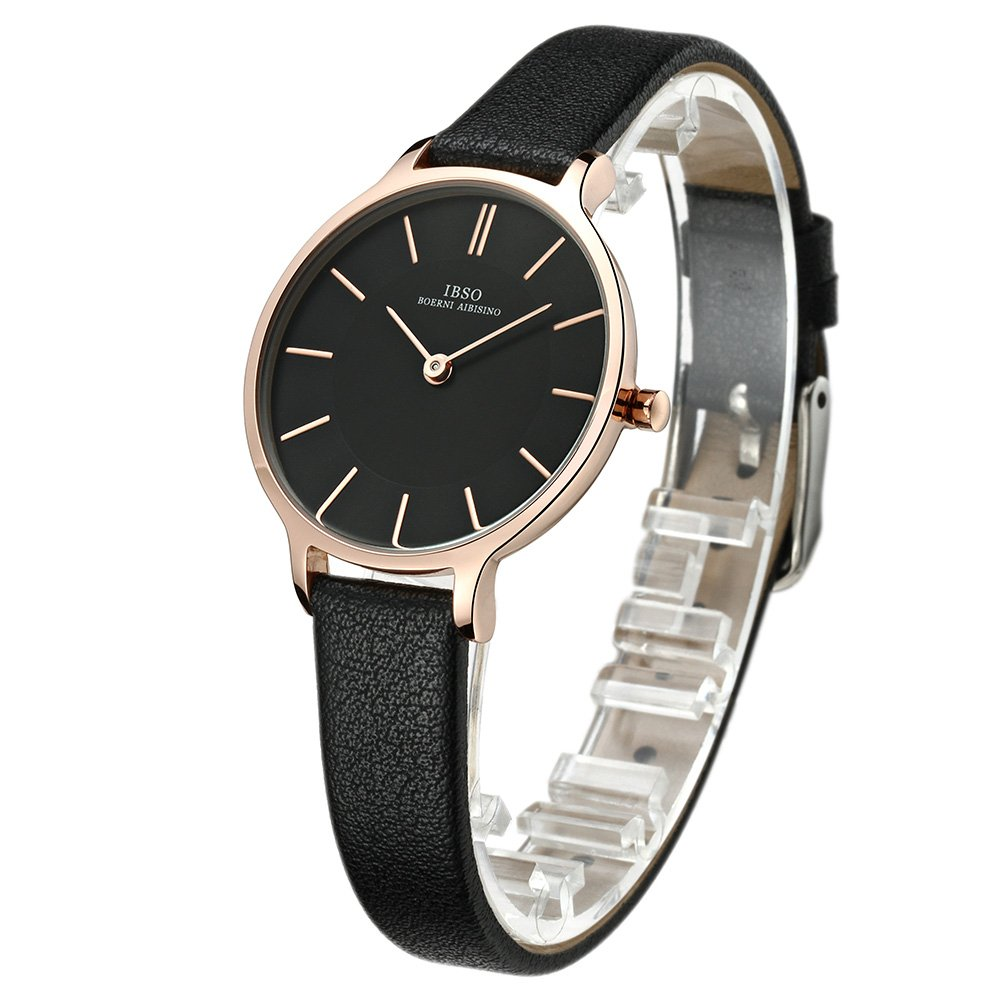 Amazon.com: IBSO Small Black Watches Leather Strap Round Case Elegant Wristwatch for Female: Watches