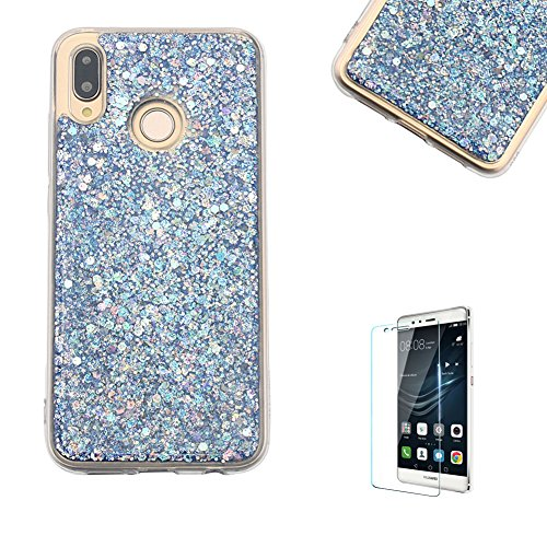 Price comparison product image Funyye Blue Bling Glitter Silicone Case for Huawei P20 Lite, Luxury Sparkle Crystal Soft Flexible TPU Rubber Protective Bumper Case for Huawei P20 Lite, Slim Fit Shockproof Non Slip Protective Case