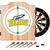 University of Toledo Deluxe Solid Wood Cabinet Complete Dart Set - Officially Licensed!