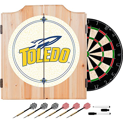 University of Toledo Deluxe Solid Wood Cabinet Complete Dart Set - Officially Licensed! by TMG
