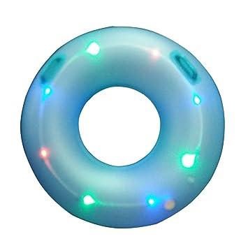 DMGF Inflatable Swimming Ring Pool Flotador Raft Tube Led Light Flashing Rings con Válvulas/Manijas Rápidas Water Sport Loungers Summer Beach Party Juguetes ...