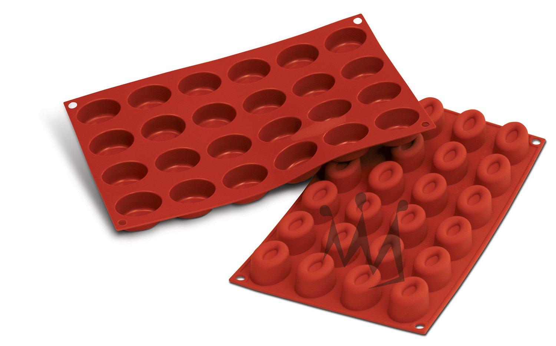 Silikomart Professional SF083 Silicone Baking Mold Small Oval Savarin 0.54 Oz, 1.61'' x 1.14'' x 0.78'' High, 24 Cavities (1 Each) by Silikomart Professional